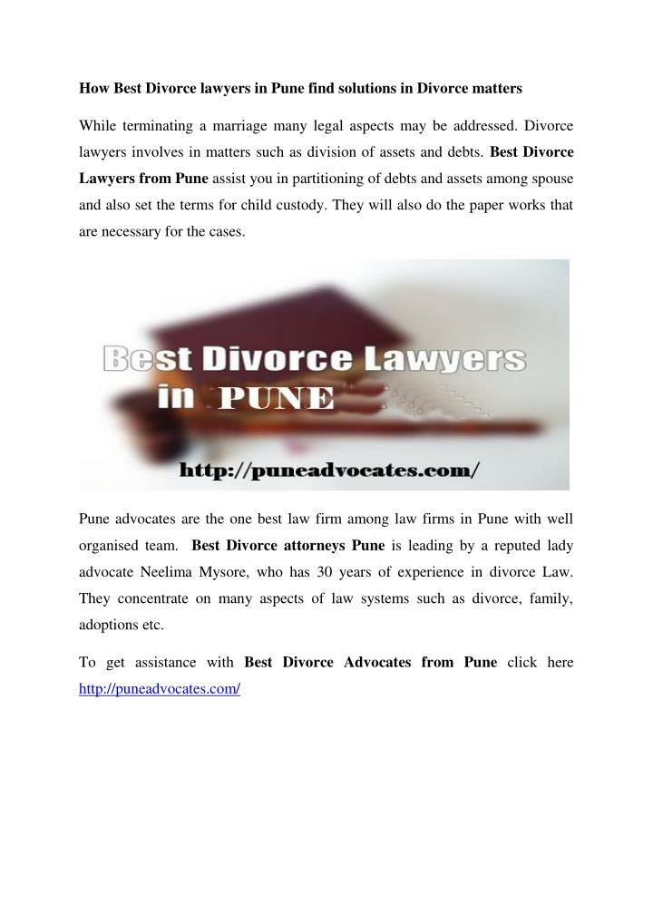 How Best Divorce lawyers in Pune find solutions in Divorce matters