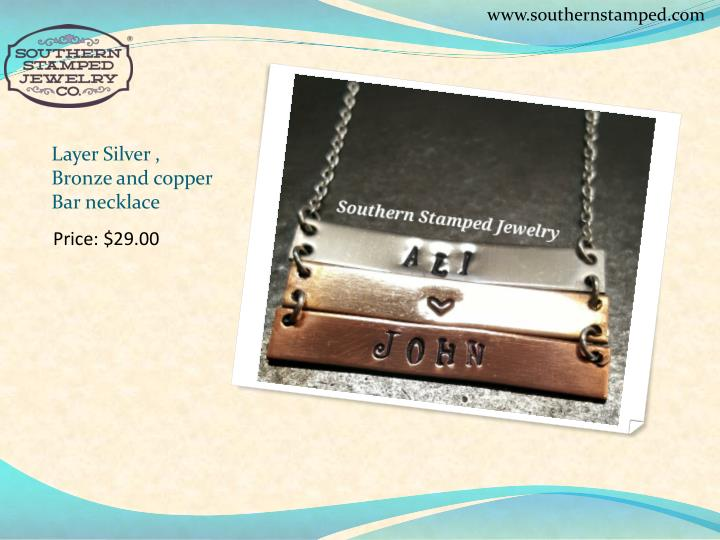 Layer silver bronze and copper bar necklace