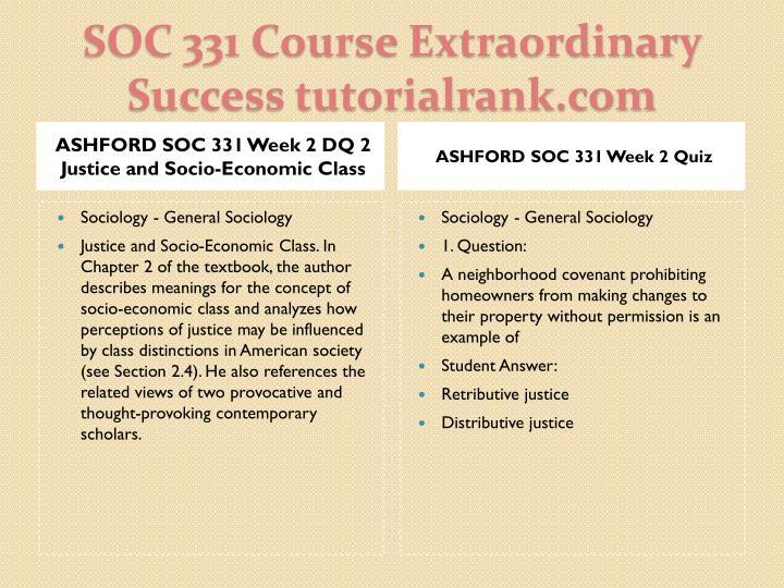 ASHFORD SOC 331 Week 2 DQ 2 Justice and Socio-Economic Class