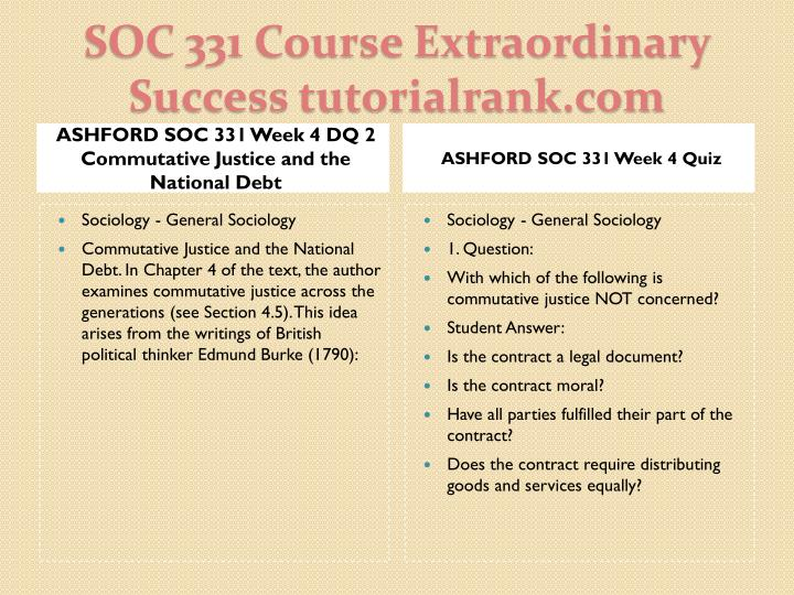 ASHFORD SOC 331 Week 4 DQ 2 Commutative Justice and the National Debt