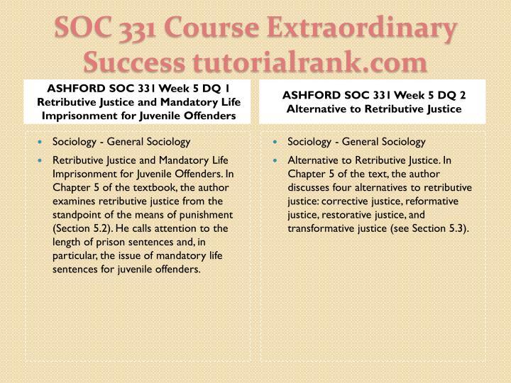 ASHFORD SOC 331 Week 5 DQ 1 Retributive Justice and Mandatory Life Imprisonment for Juvenile Offenders