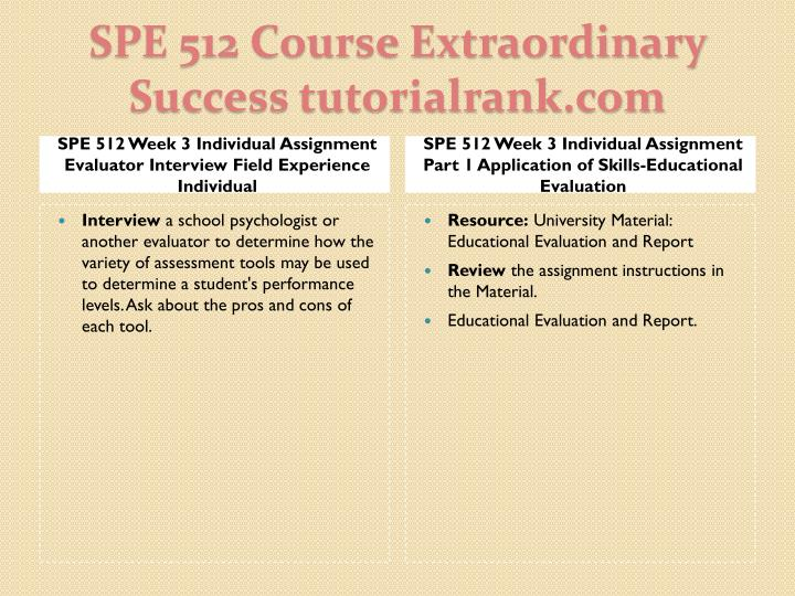 SPE 512 Week 3 Individual Assignment Evaluator Interview Field Experience Individual