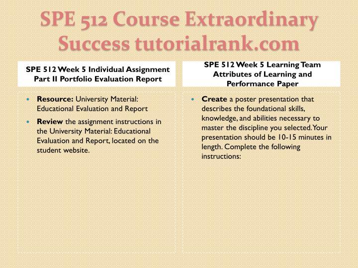 SPE 512 Week 5 Individual Assignment Part II Portfolio Evaluation Report