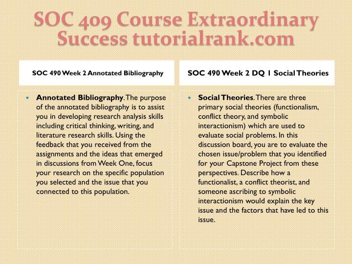 SOC 409 Course Extraordinary  Success tutorialrank.com