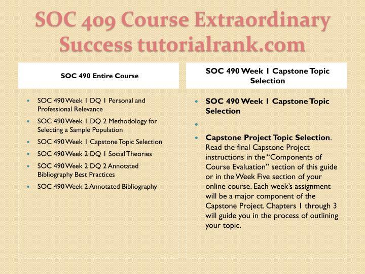 Soc 409 course extraordinary success tutorialrank com1