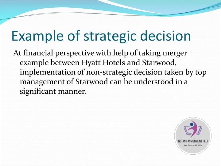 Example of strategic decision