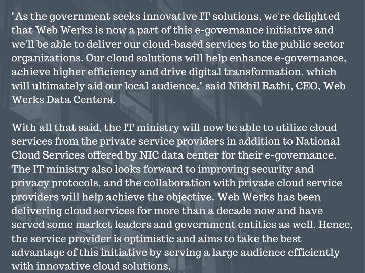 """As the government seeks innovative IT solutions, we're delighted"
