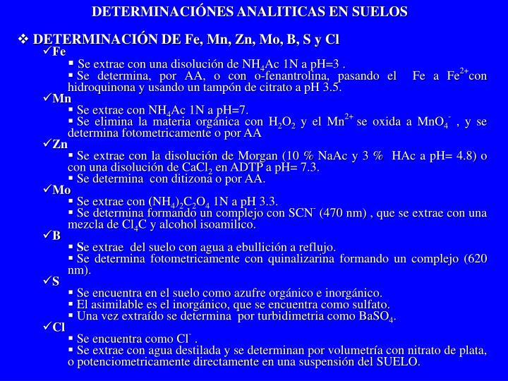 DETERMINACIÓNES ANALITICAS EN SUELOS