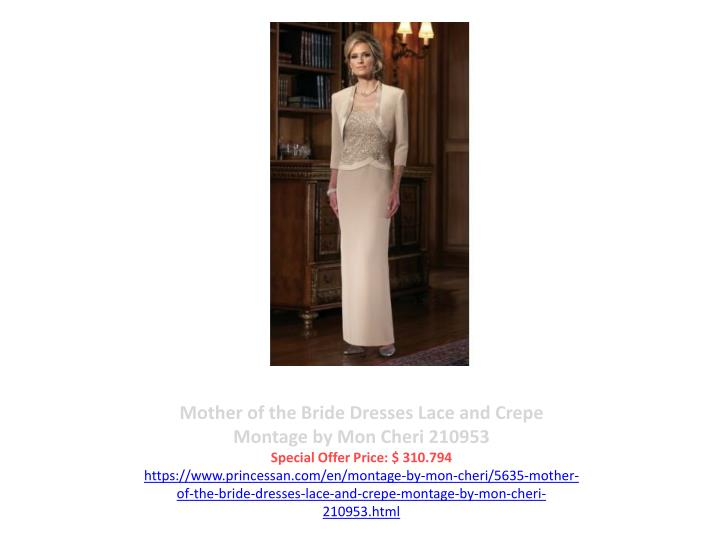 Mother of the Bride Dresses Lace and Crepe Montage by Mon Cheri 210953