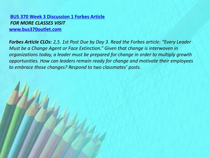 BUS 370 Week 3 Discussion 1 Forbes Article