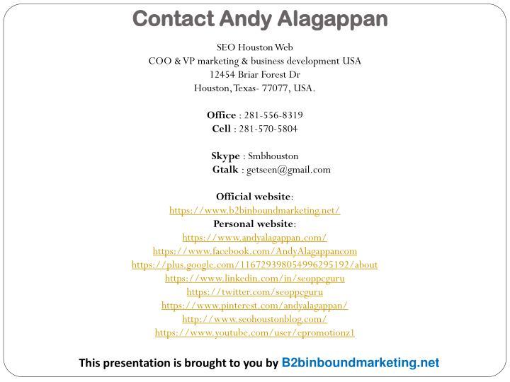 Contact Andy Alagappan