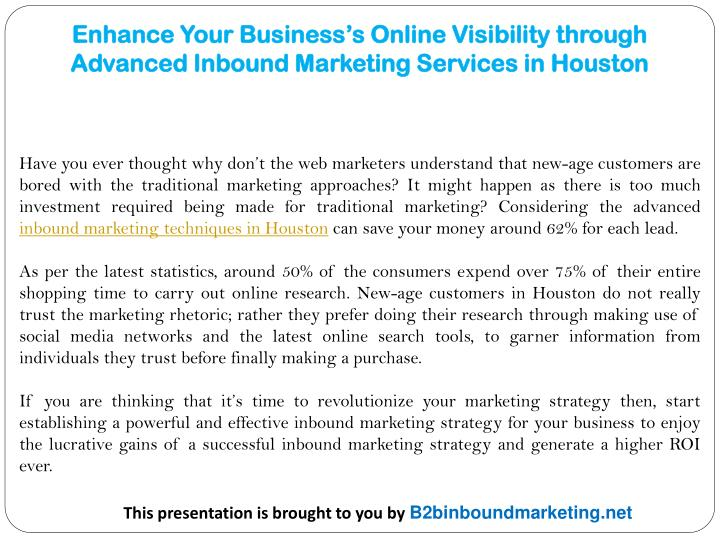 Enhance your business s online visibility through advanced inbound marketing services in houston