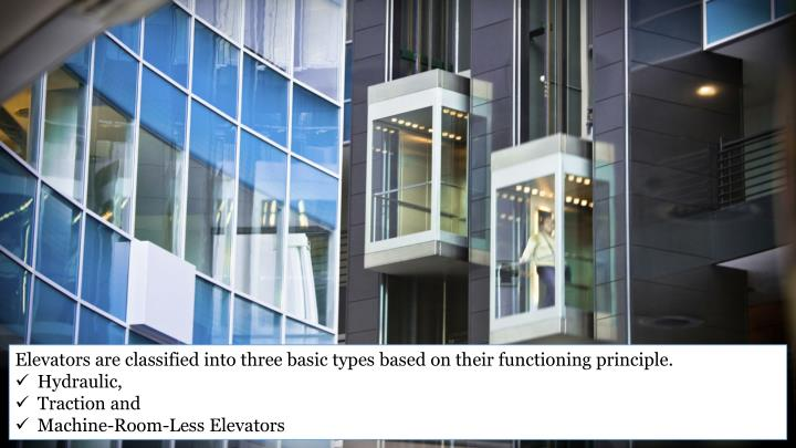 Elevators are classified into three basic types based on their functioning principle.