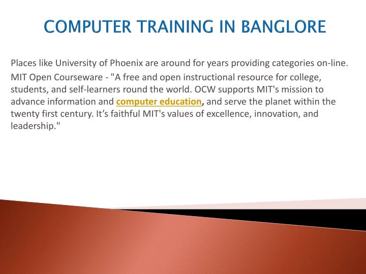 COMPUTER TRAINING IN BANGLORE