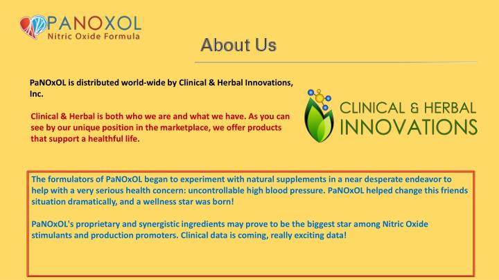 PaNOxOL is distributed world-wide by Clinical & Herbal Innovations, Inc.
