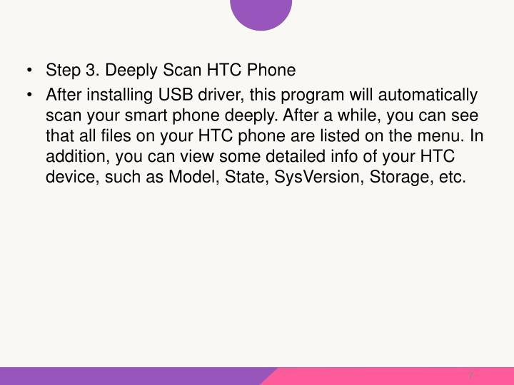 Step 3. Deeply Scan HTC Phone