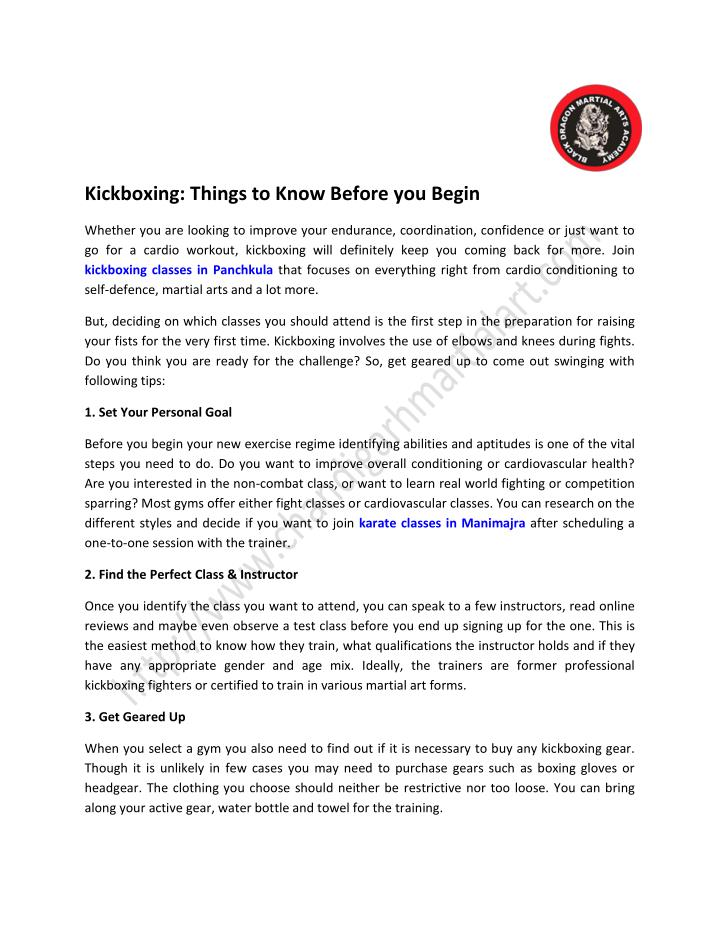 Kickboxing: Things to Know Before you Begin