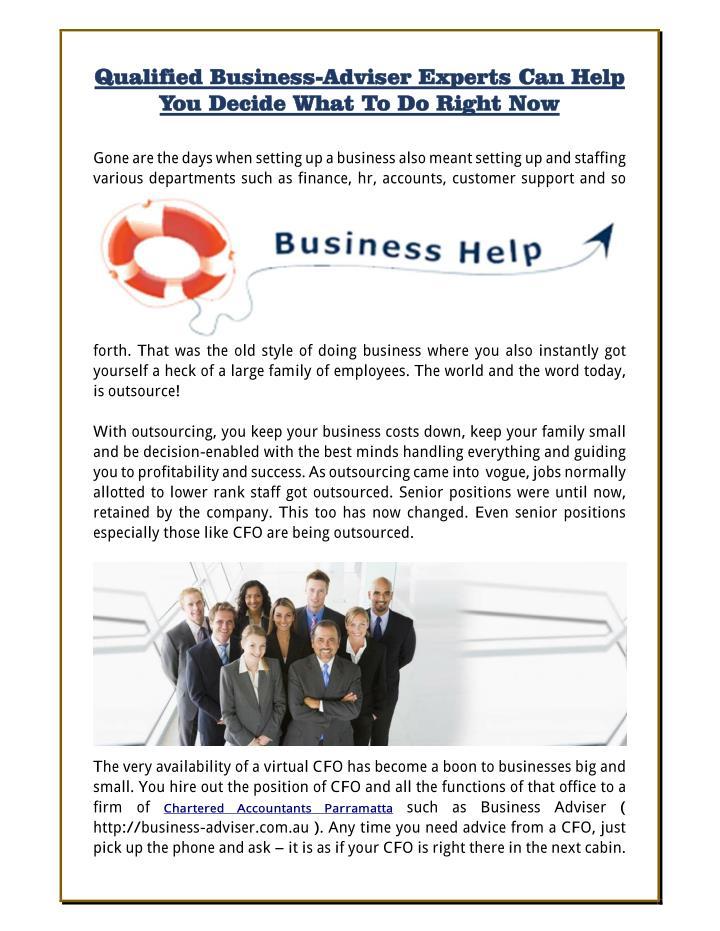 Qualified Business-Adviser Experts Can Help