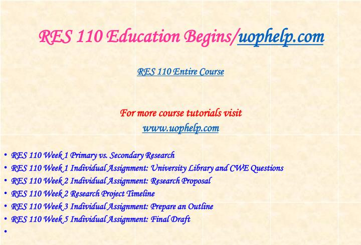 Res 110 education begins uophelp com1