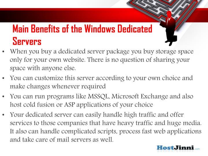 Main Benefits of the Windows Dedicated Servers