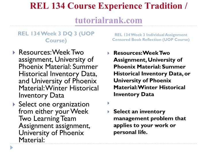 REL 134 Course Experience Tradition /