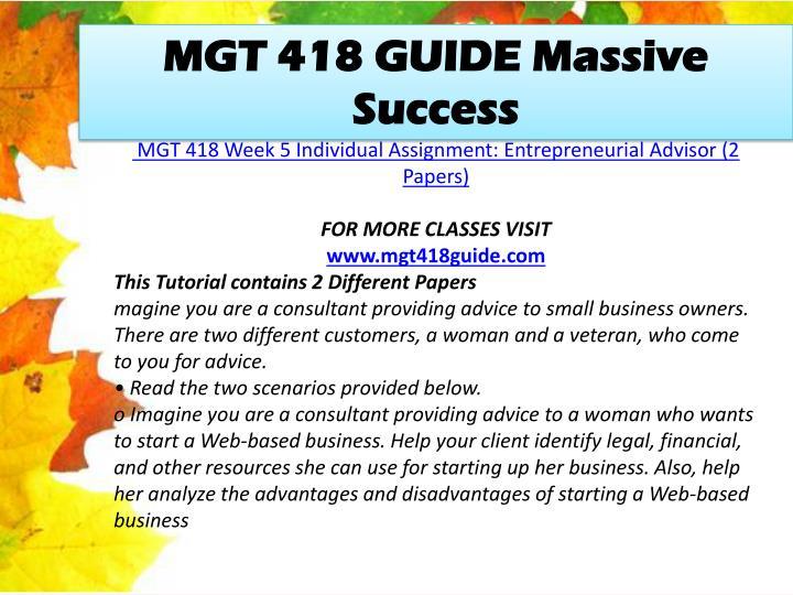 MGT 418 GUIDE Massive Success