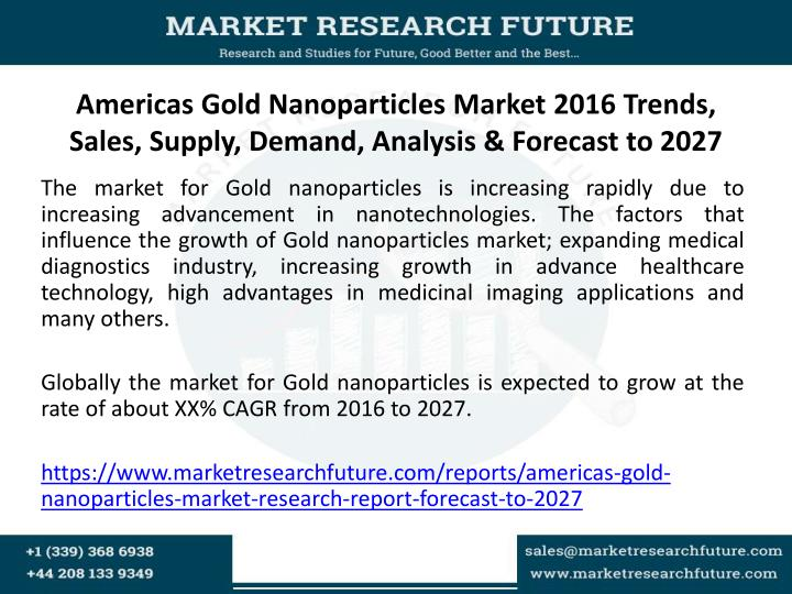 Americas gold nanoparticles market 2016 trends sales supply demand analysis forecast to 2027