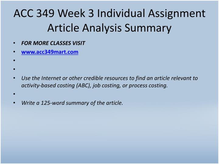 ACC 349 Week 3 Individual Assignment Article Analysis Summary