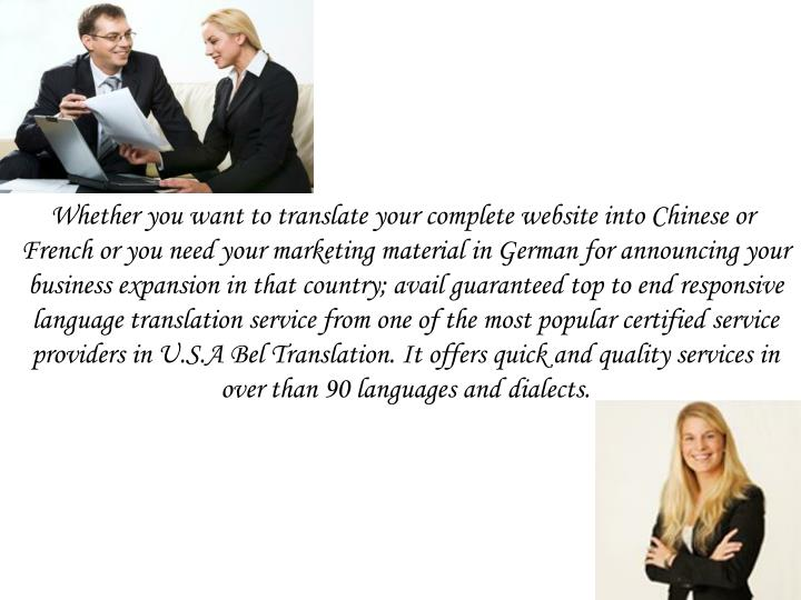 Whether you want to translate your complete website into Chinese or