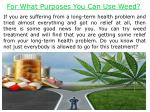 for what purposes you can use weed