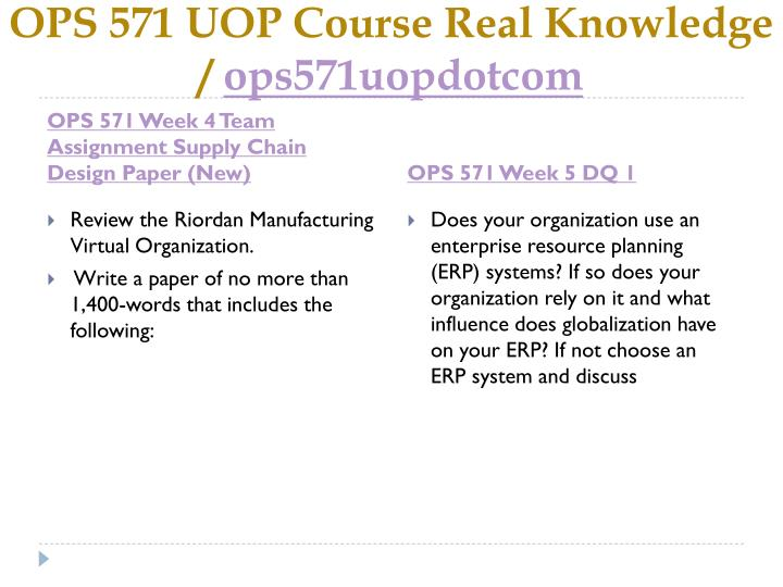 design a supply chain for riordan manufacturing ops 571