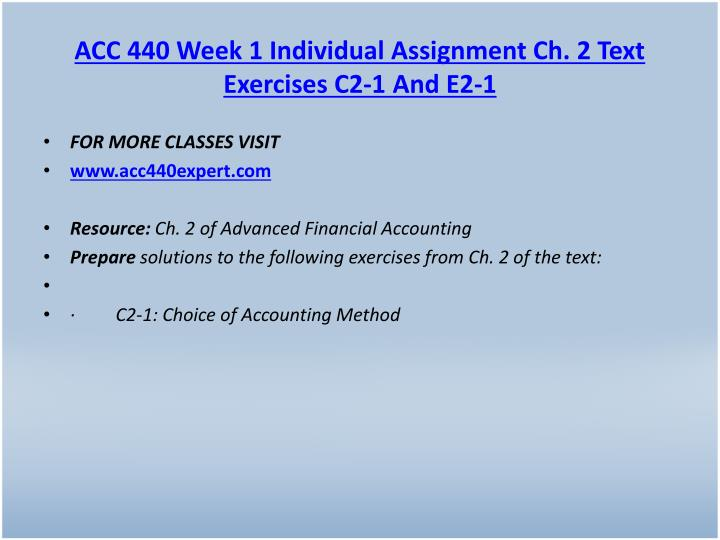 ACC 440 Week 1 Individual Assignment Ch. 2 Text Exercises C2-1 And E2-1