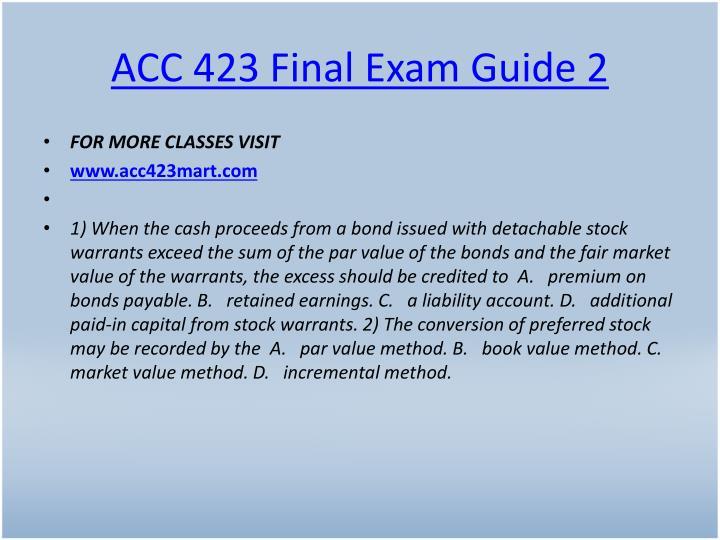 ACC 423 Final Exam Guide 2