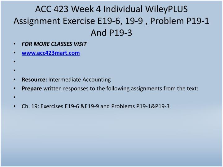 ACC 423 Week 4 Individual