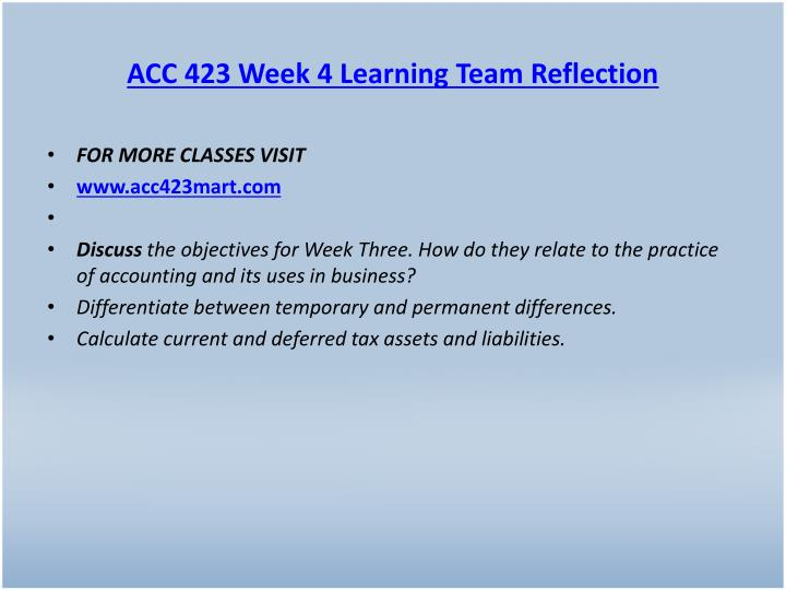 ACC 423 Week 4 Learning Team Reflection