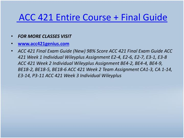 Acc 421 entire course final guide