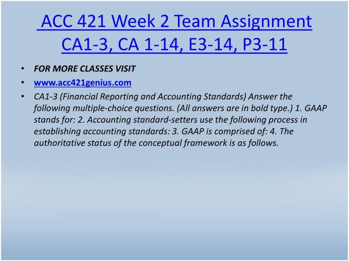 ACC 421 Week 2 Team Assignment CA1-3, CA 1-14, E3-14, P3-11