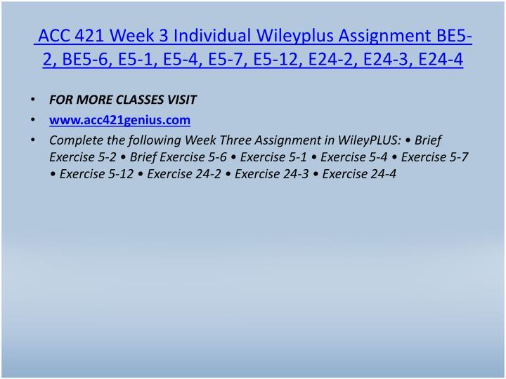 ACC 421 Week 3 Individual