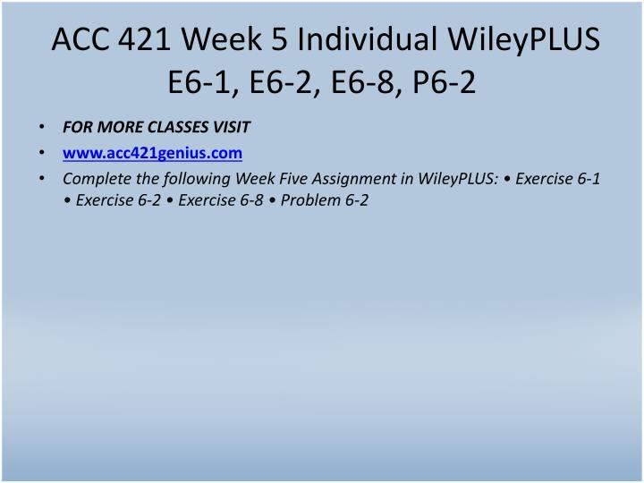 ACC 421 Week 5 Individual