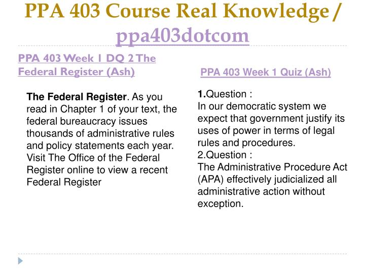 Ppa 403 course real knowledge ppa403dotcom2