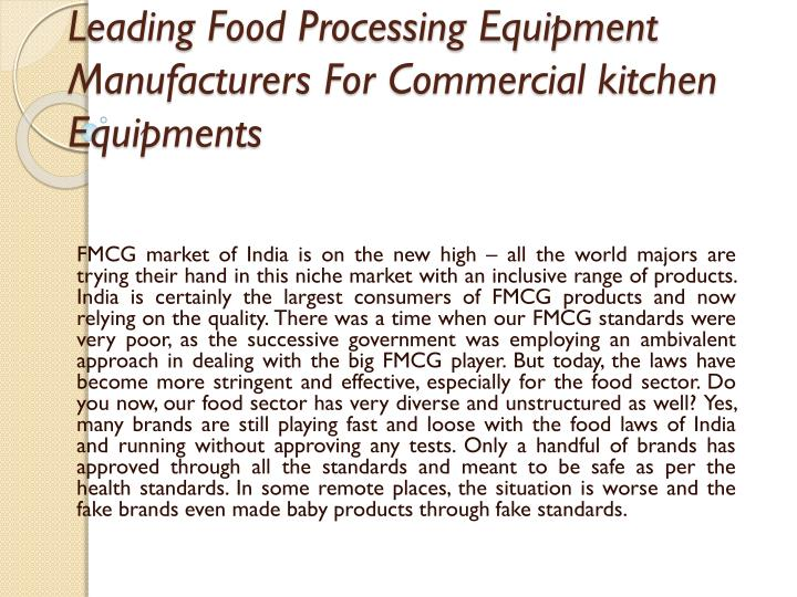 leading food processing equipment manufacturers for commercial kitchen equipments n.