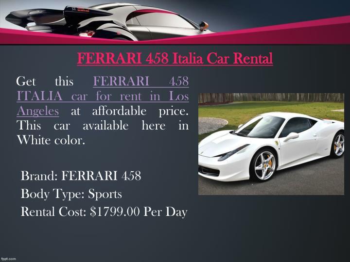 Ferrari 458 italia car rental