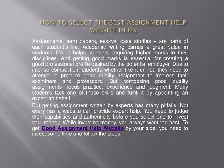How to select the best assignment help website in uk