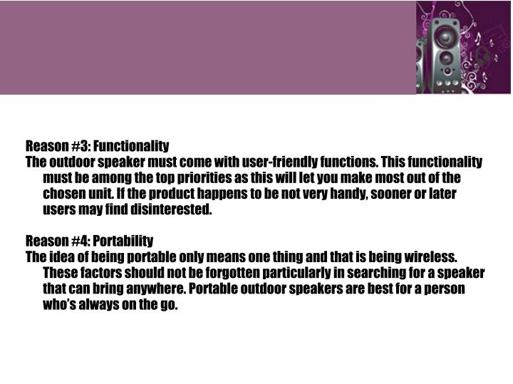 Reason #3: Functionality