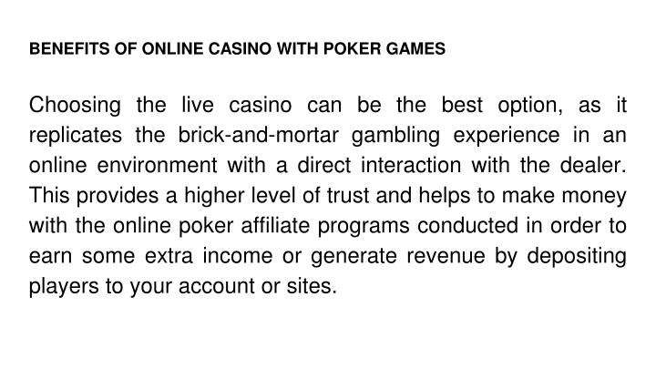 BENEFITS OF ONLINE CASINO WITH POKER GAMES
