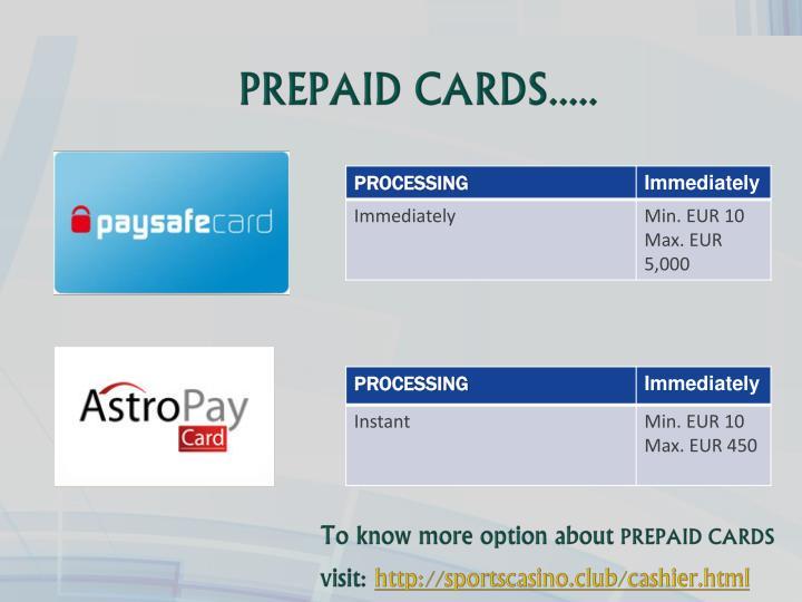 PREPAID CARDS.....