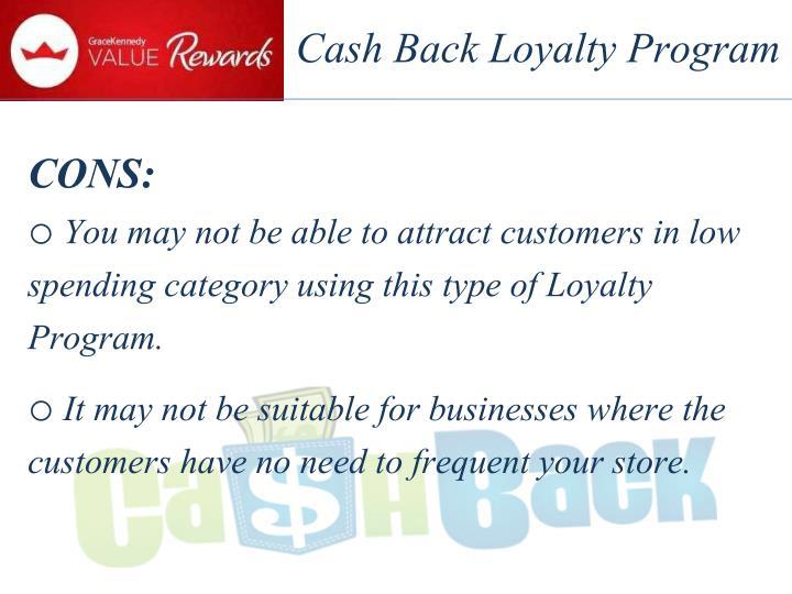 Cash Back Loyalty Program