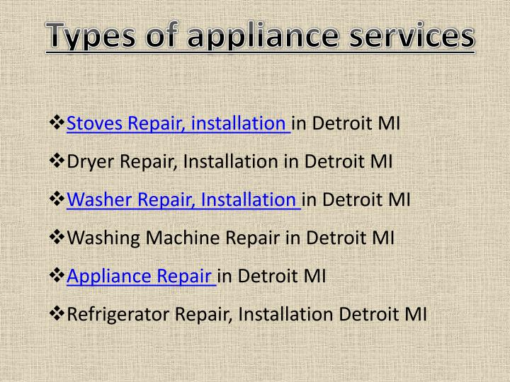 Types of appliance services