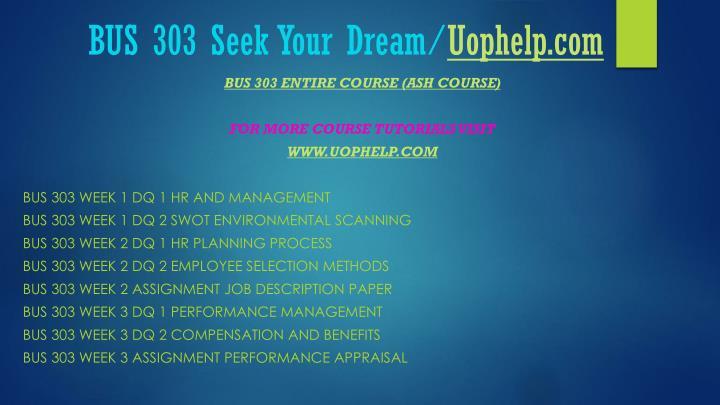 Bus 303 seek your dream uophelp com1