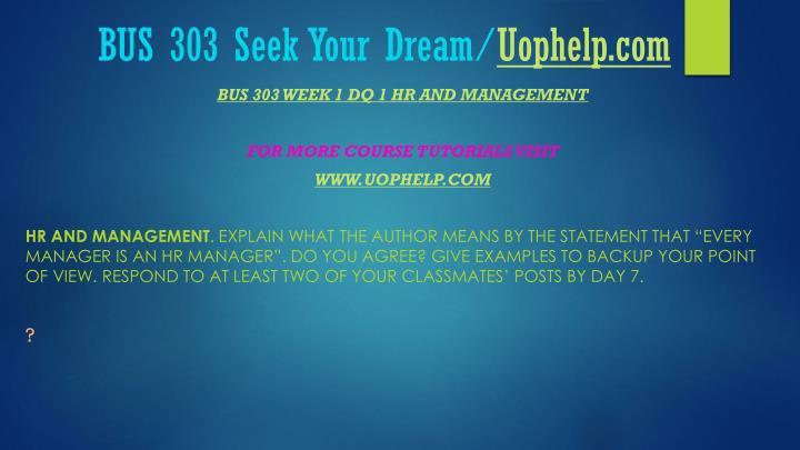 Bus 303 seek your dream uophelp com2
